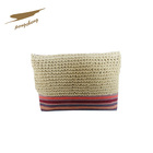 woman small red color stripe hand bag crochet clutch bag