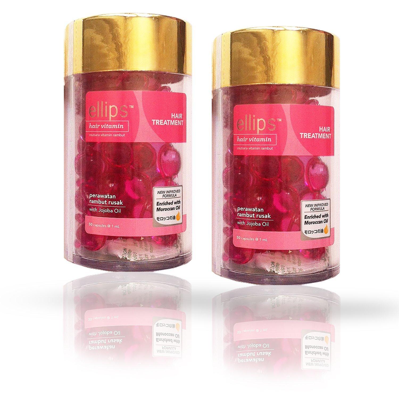 Ellips Hair Vitamin (Hair Treatment) 2 Bottle-Pack (twin pack, Pink)
