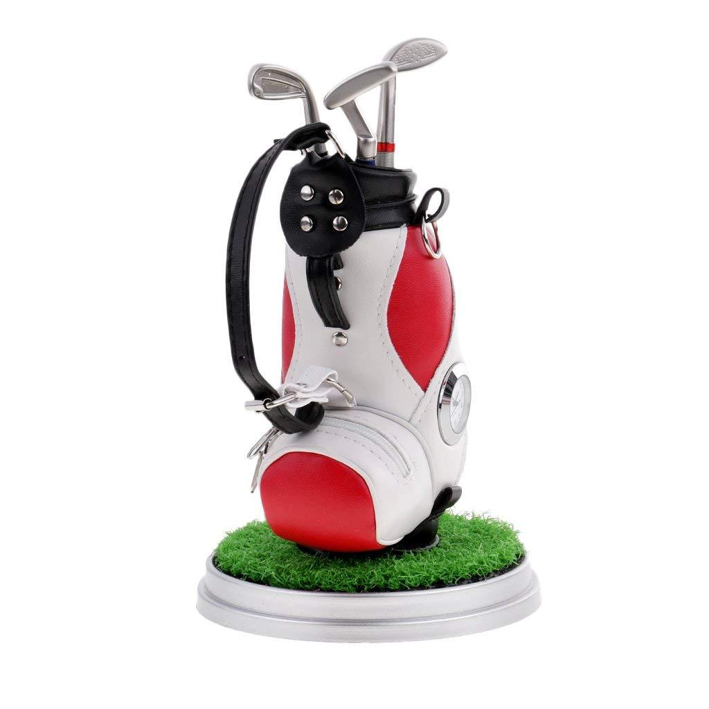 Jili Online Desktop Golf Bag Pen Holder with Clock & Lawn Base & 3 Golf Club Pens Decor Souvenir