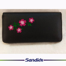 floral embroidered Purse women pu leather wallet wholesale