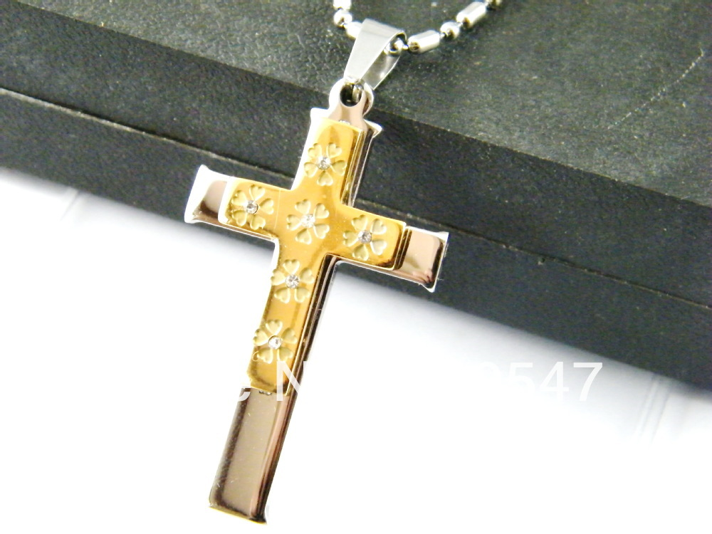 316L Stainless Steel  cross pendant,silver & gold cross jewelry, gold pendant ,stainless steel cross necklace