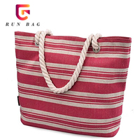Women Stripe Beach Bags And Large Tote Bag Cotton Canvas Bag With Thick Rope Handle