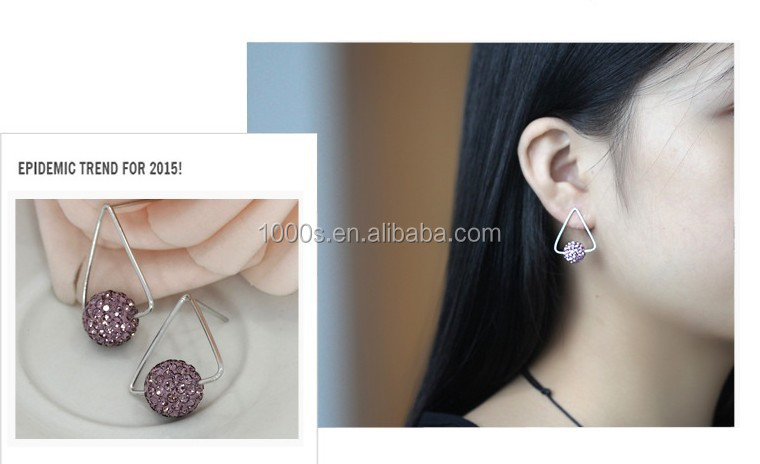925 silver triangle 10mm ball crystal stud earring wholesale