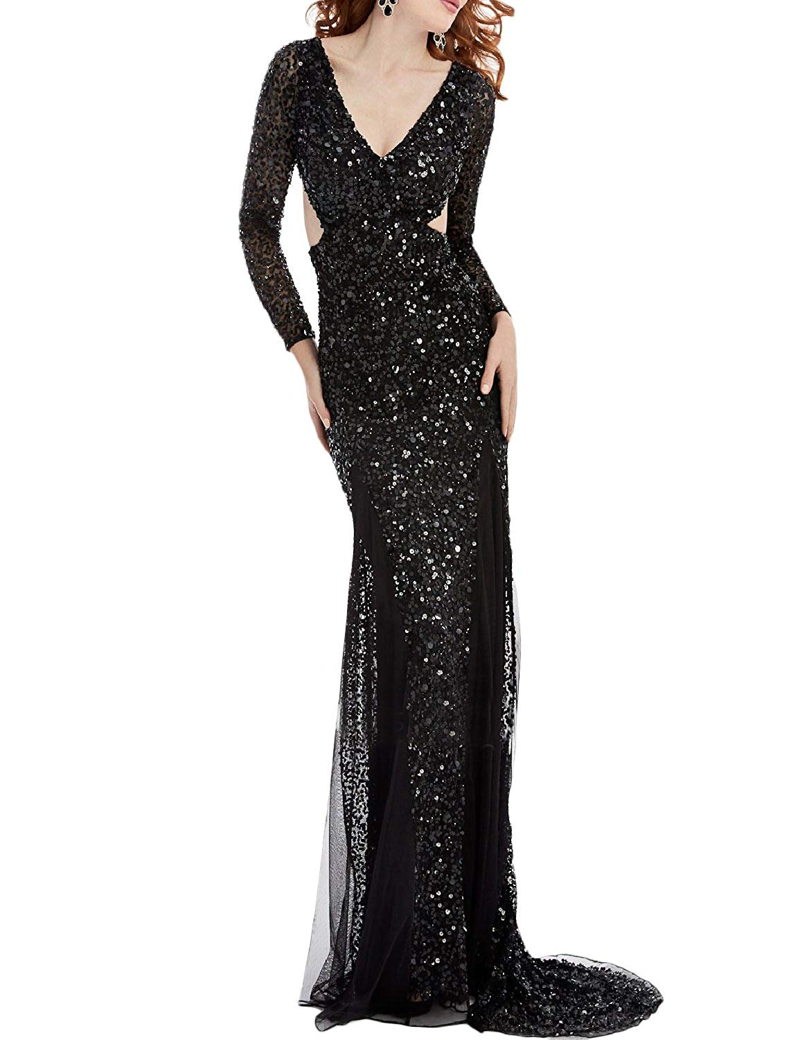 ff6d480dba1 Get Quotations · OYISHA Womens Plunging Sequined Evening Gown Backless  Celebrity Party Dress SQ35