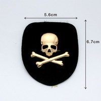 Black PU leather label with gold metal alloy logo skull design patches for jeans/jacket PLB-016