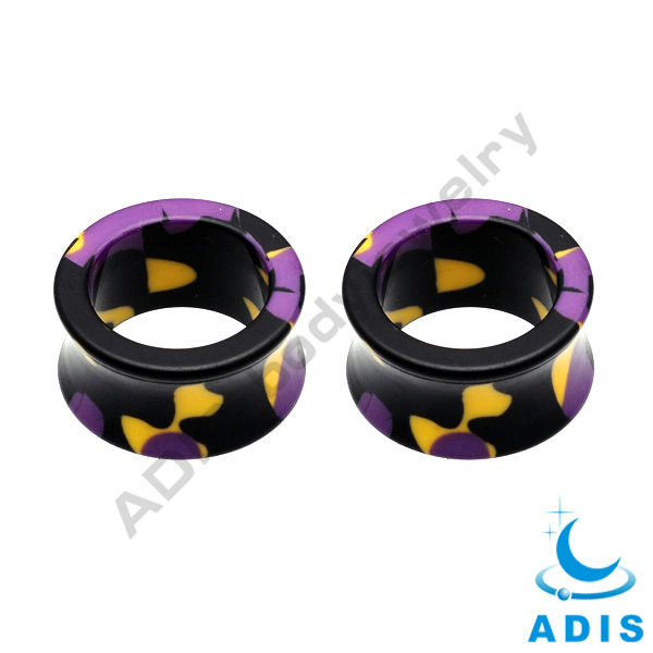 Double flared UV acrylic tunnel ear expander jewelry 00 gauge for party