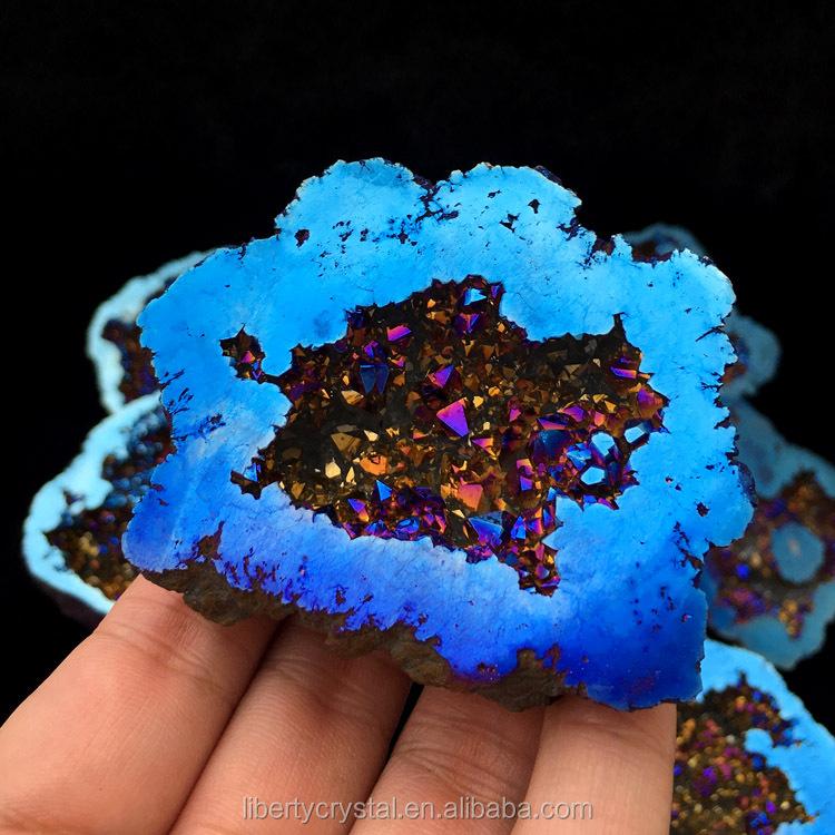 Amazing Dark Blue Aura Quartz Moroccan Geode Crystal Geodes For Decoration
