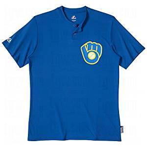 feb7bd0d782 Get Quotations · Majestic Youth MLB 2-Button Cooperstown Replica Jersey  Brewers