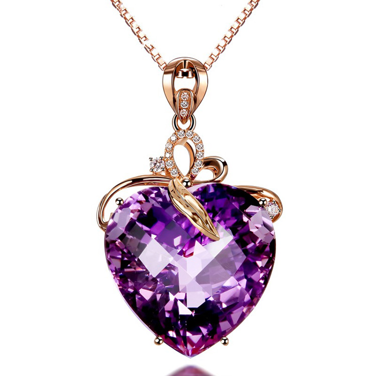 Heart Shaped <strong>Natural</strong> Gemstone <strong>Amethyst</strong> <strong>Pendant</strong>