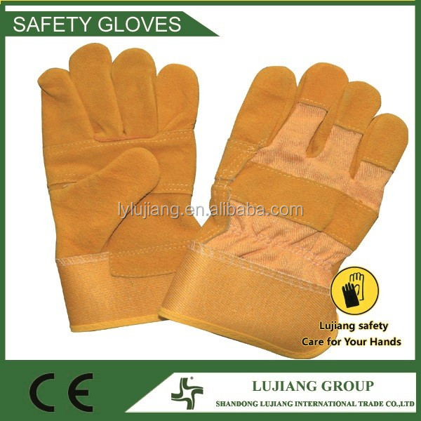 LUJIANG SAFETY 10.5inches high quality AB grade cotton lining cow leather made labor handling gloves in South America