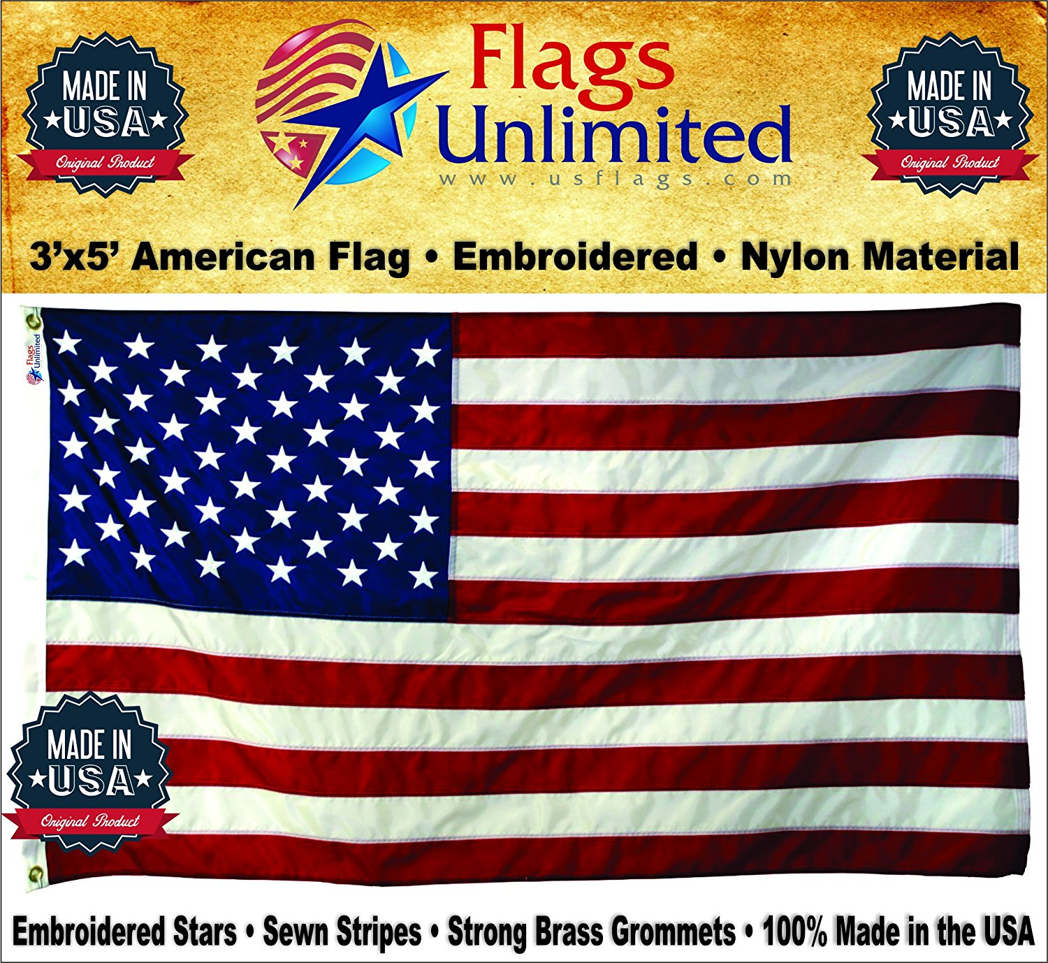 American Flag: 100% American Made - Embroidered Stars & Sewn Stripes - 3 x 5 ft From Flags Unlimited (3 by 5 Foot)