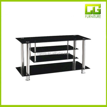 Modern Curved Design Glass TV Stand Metal Stand