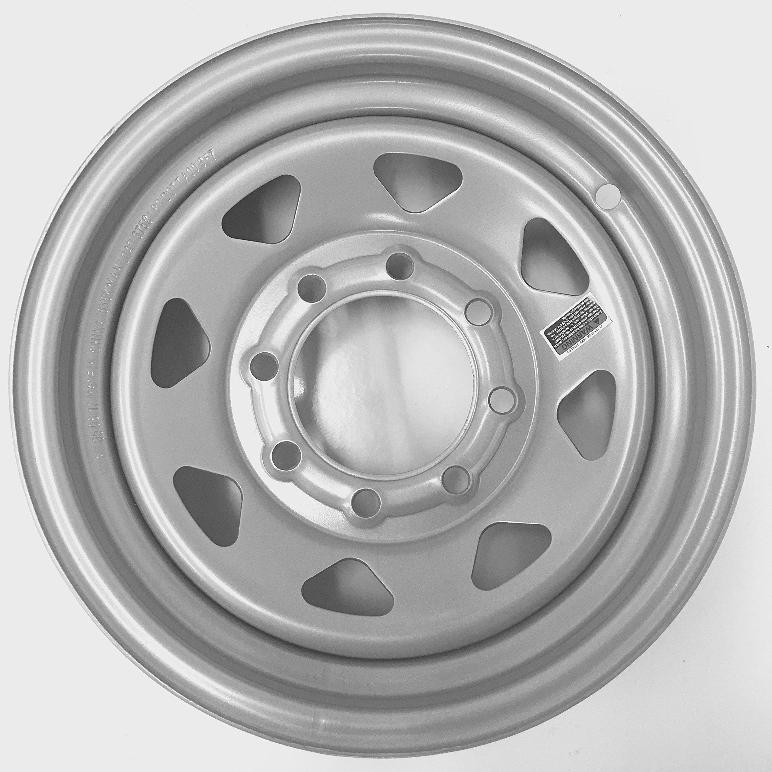 "eCustomRim Trailer Wheel Silver Rim 16 x 6 Spoke Style (8 Lug On 6.5"") 4.90"" Center Bore"