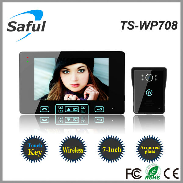 Saful TS-WP708 waterproof 7 inch tft kit video door phone, no need cable, take picture, clear night vistion