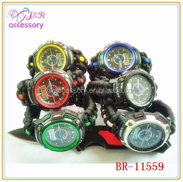 Multicolor Survival Watch With Knife /Flint /Compass Buckle,Jute Tinder/fishing line paracord sport watch