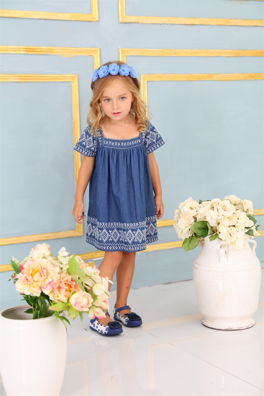 Wholesale Short Sleeve Cute 3 Year Old Baby Girl Clothes Embroidery