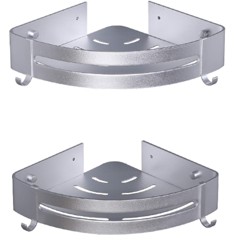 Blppldyci Bathroom Shelf (No Drilling) Durable Aluminum shower shelf Nail Free Glue+Double Sided Adhesive Aluminum with Two Hooks (Three-Tier)