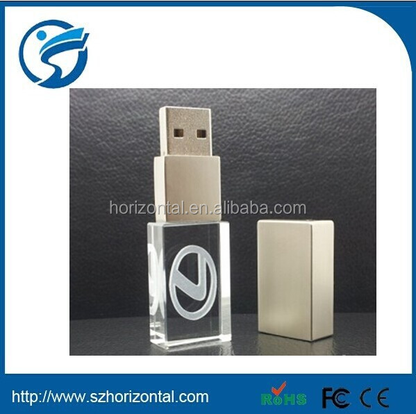 2015 company giveaway gifts wood Material Crystal usb flash drives 3D Logo Engraved On the Usb