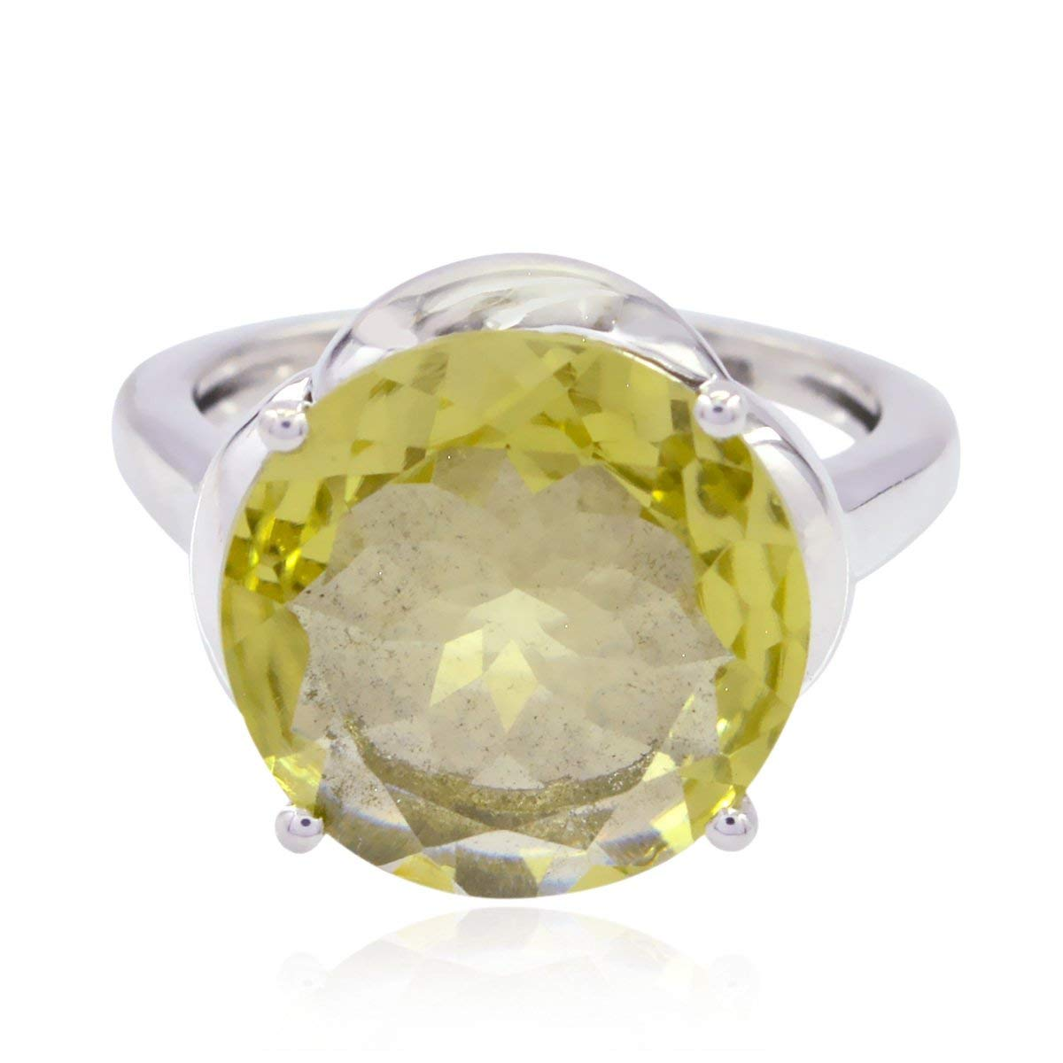 Genuine Gems Round Faceted Lemon-Quartzs Ring - Silber Yellow Lemon-Quartzs Genuine Gems Ring - Supply Jewelry Greatest Seller Gift for Mother Rings -US 4