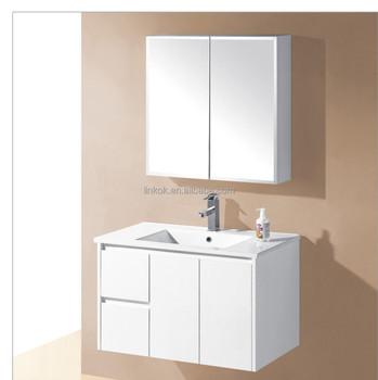 White Marble Bathroom Unit Vanity With Top Ceramic Basin Set