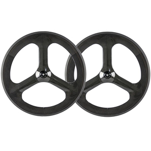 "20"" BMX carbon bmx wheels tri-spoke wheels 3k matte 50mm depth clincher profile"