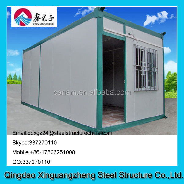 Steady and long-lifetime container living house for refugee camp with steel structure bottom