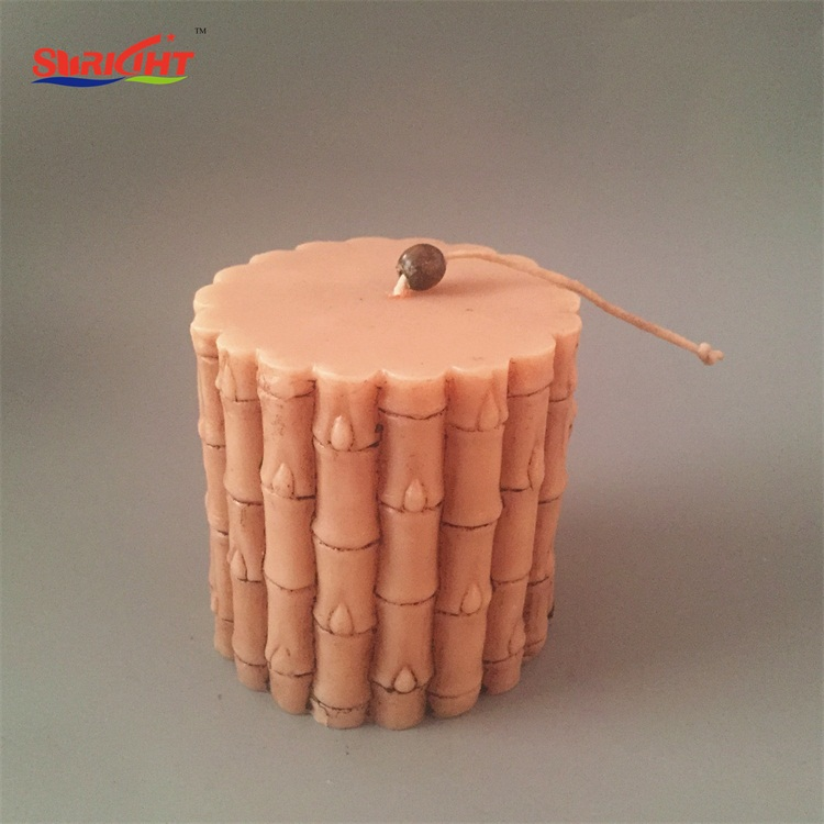 Crakle Decoration Texture Scented Cheap Funny Bamboo Pillar Candle