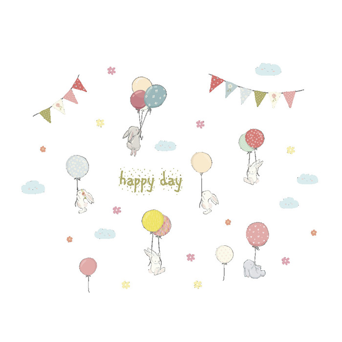 Happy day Lovely animals rabbit balloons wall stickers art for kids children's room kindergarten cartoon wall decal decoration