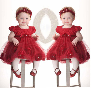 2018 Baby Toddler Girl Clothing Dress bubble puff sleeve Flower Headwear Princess Red Wedding Party Pageant Tulle TUTU Dresses