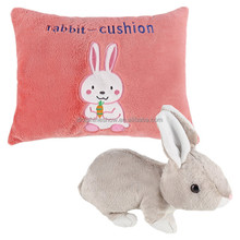 OEM Custom Cartoon Stuffed Animal Plush Baby Pink Pillow Cushion With LOGO 2017 Reversible Soft Plush Rabbit