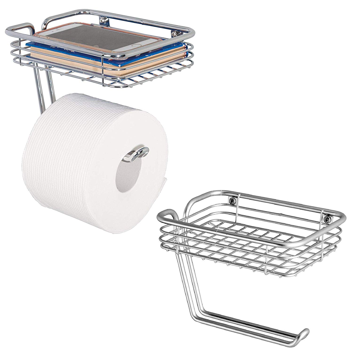 mDesign Wall Mount Toilet Tissue Paper Roll Holder and Dispenser with Storage Shelf for Bathroom Storage - Wall Mount, Holds and Dispenses One Roll - Pack of 2, Durable Metal in Chrome