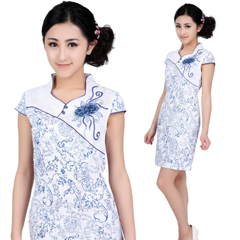 f5726d46e9fd Get Quotations · dress Short qipao fashion blue vintage fashion sexy blue  and white porcelain cotton chinese style clothes
