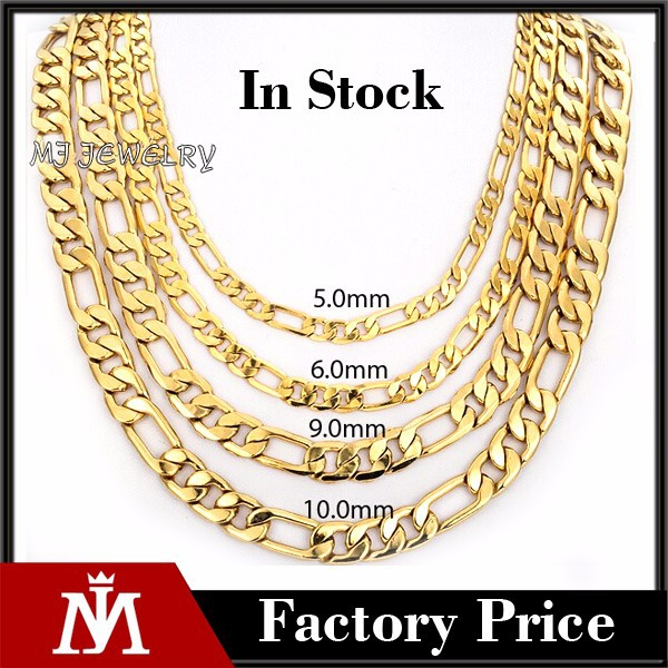 Wholesales Designs 18K Gold Stainless Steel Mens Jewelry Figaro Chains Link Necklace