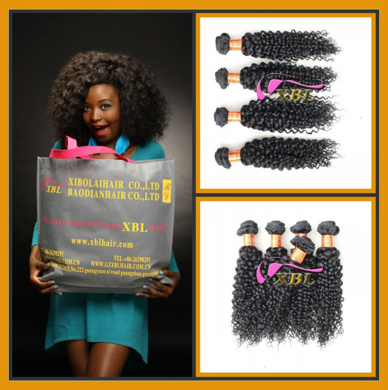 water wave/kinky curly Cambodian remy human hair extensions,natrual colour,double layers virgin hair