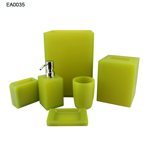 hotel deco 4 pcs Emerald green bathroom accessories sets Wastebasket Toothbrush Accessory