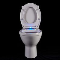 automatic light up LED light toilet seat in blue color