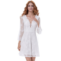 Kate Kasin Sexy Womens Lace up Plunging V-Neck Bell Sleeves Ivory Lace Dress KK000639-1
