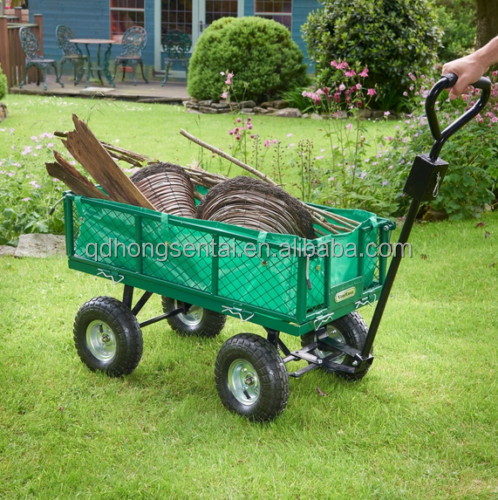 4 Wheel All-terrain Cargo Metal Wagon Hand Push Cart