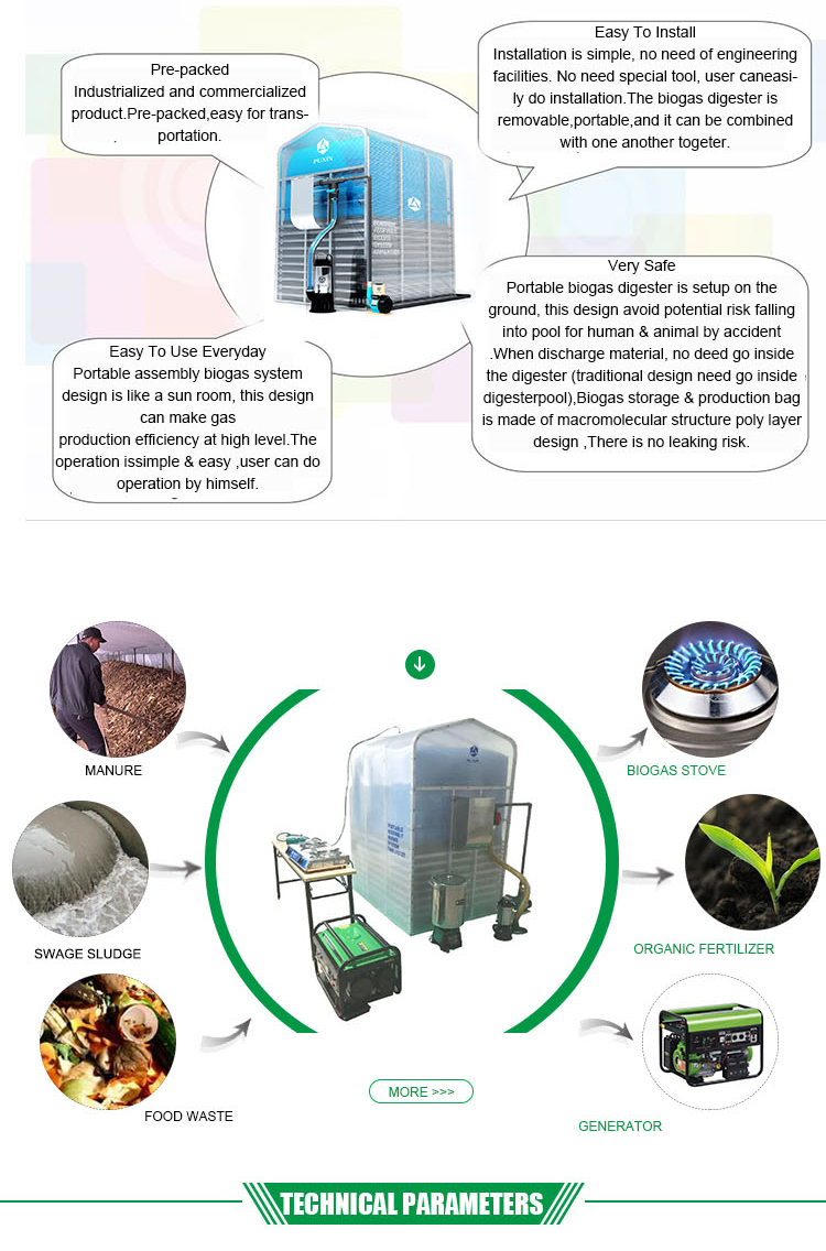 China Puxin Cheap Mini Size Portable Assembled Membrane Biogas Plant Digester