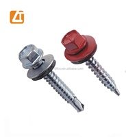 DIN7504K hex wafer head roofing self drilling screw sizes with EPDM Bonded rubber washer