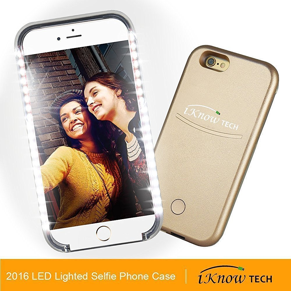 "iPhone 7 Plus Case, iKNOWTECH Luxury Night Selfie Light Cover Bumper Case Photo Self LED lightning for Apple iPhone 7 Plus 5.5"" 2016 Released (Luxury Gold)"