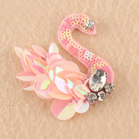 hand work sewing pink beading swan designs blouse patch for decoration