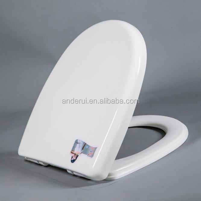 fácil de limpiar y cambiar las bisagras Asiento de inodoro de madera MDF de lujo con asiento alargado redondo