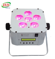 wireless battery powered led uplights 6x18w rgbwauv dj par