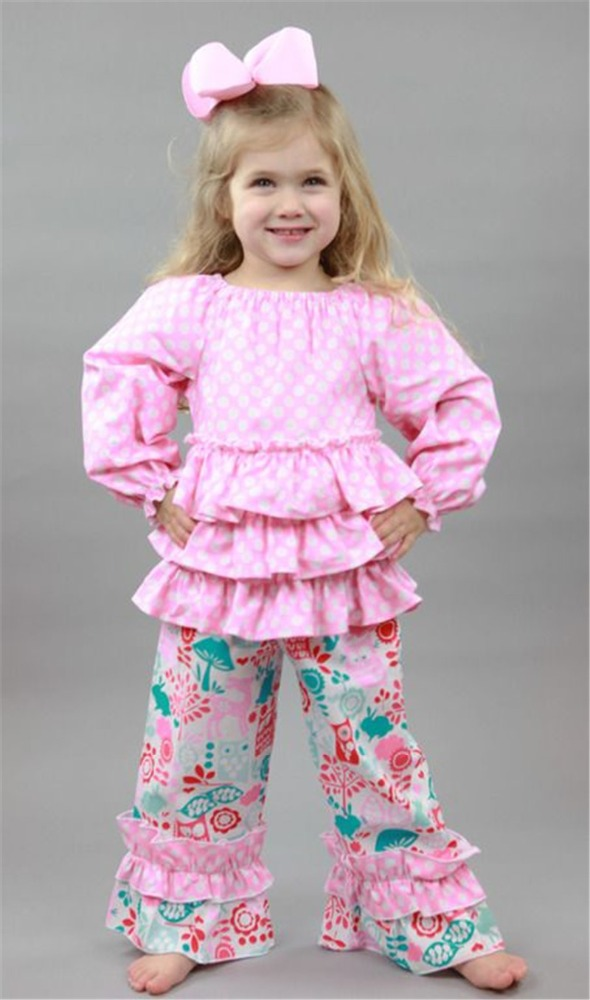 cute wear pink polka dots flower ruffle design boutique outfits for girls