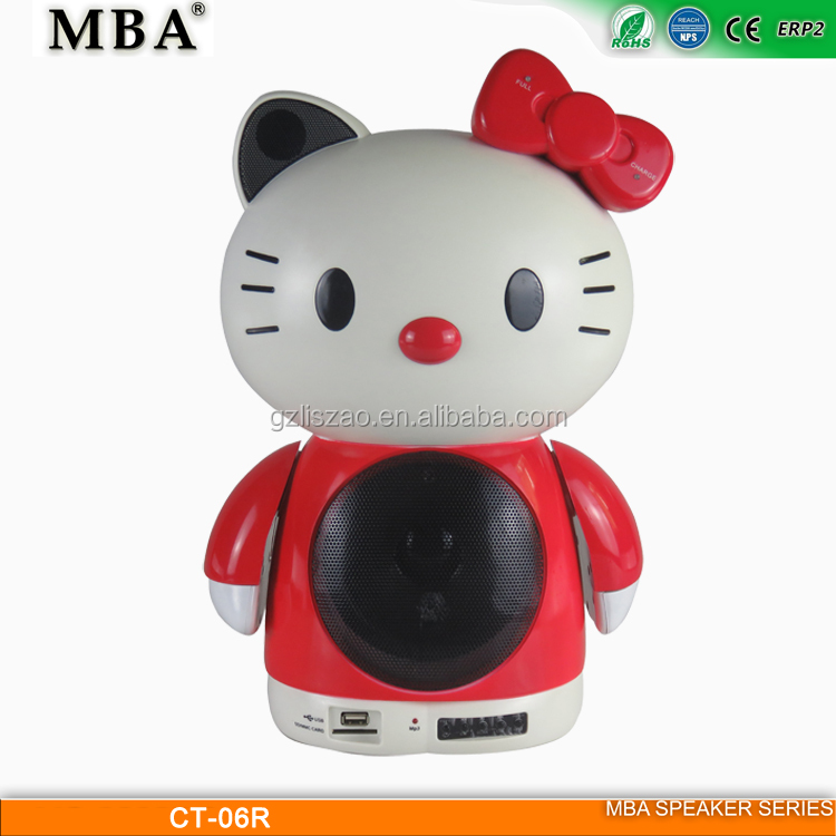 Mini Cute Portable Hello Kitty Bluetooth Speaker for Cellphone/Phone/Computer/DVD/VCD/Home Theater