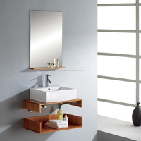 Low Price Simple Design Wall Mounted Single Sink Mirrored Bathroom Vanity
