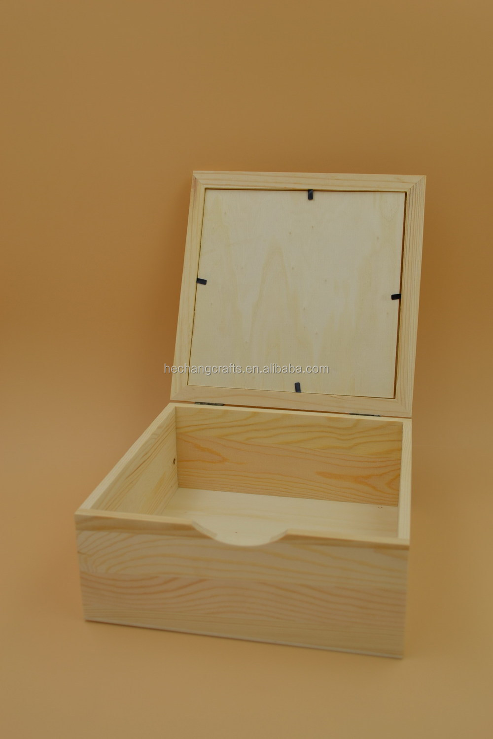 Natural Wooden Box With Photo Frame,Wooden Storage Box With Lid ...