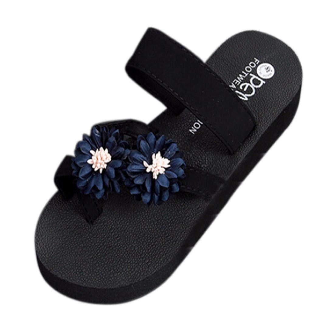 Clearance! Hot Sale! ❤️ Women Flip Flops, Neartime Summer Beach Sandals Platform Bath Slippers Wedge Fashion Leisure Shoes (❤️US7, Blue)