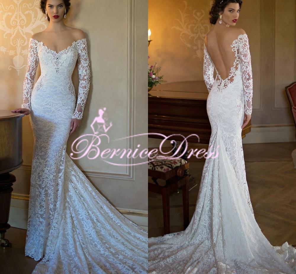 2015 New Elegant Full Long Sleeves Mermaid Wedding Dresses: 2015 New Arrival Backless Sexy Lace Wedding Dress Custom